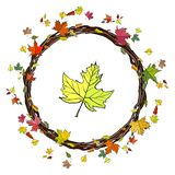 Round garland with colored autumn leaves and twigs. Autumn template with bright colored leaves and twigs. Template for your design, greeting card, festive stock illustration