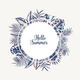 Round garland or frame made of palm tree leaves or foliage of tropical plants hand drawn with contour lines on white. Background and lettering Hello Summer Stock Photography