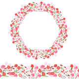 Round garland and seamless pattern brush with romantic pink flowers. Stock Photos