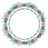 Round garland with season daisy flowers. vector illustration