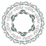Round garland with season flowers. royalty free illustration
