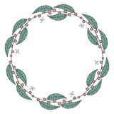 Round garland with red berries and green leaves. stock illustration