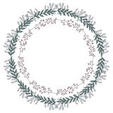 Vector wreath with decorative floral doodles. royalty free illustration