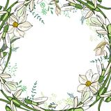 Round garland with spring flowers daffodils and and small blue flowers. Decorative season floral frame for festive design Stock Photos