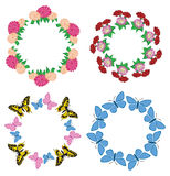Round vector garlands of flowers and butterflies - set Royalty Free Stock Photos