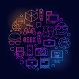 Round geek bright illustration Stock Photo