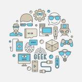 Round geek illustration Royalty Free Stock Images