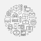 Round geek vector illustration Royalty Free Stock Photo