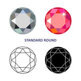 Round gem cut. Low poly colored & black outline template standard round gem cut icons isolated on white background, illustration stock illustration