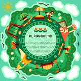 Round geometric concept of kids playground with play elements and sample text. Flat style vector illustration. Suitable for advertising vector illustration
