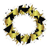 Round geometric frame. Gold and black triangles. Fragments. Royalty Free Stock Photos