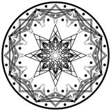 Round geometric mandala ornament. Abstract design element. Hand-drawn symbol isolated on white background. Vector Royalty Free Stock Photography