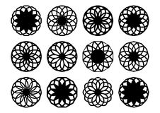 Round geometric ornaments. Black round geometric ornaments set Stock Image