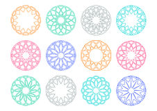 Round geometric ornaments. Colorful simple round geometric ornaments set Royalty Free Stock Images