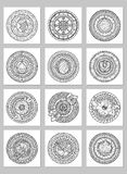 Round geometric ornaments set of had drawn doodle mandalas.Circle lace ornament, round ornamental geometric doily pattern. Collection. Black and white stock illustration