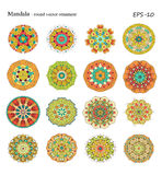 Round geometric ornaments set of had drawn doodle Stock Photos