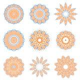 Round Geometric Ornaments Set Isolated Stock Image