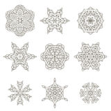 Round Geometric Ornaments. Set Isolated on White Background Royalty Free Stock Images