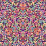 Round geometric triangle kaleidoscope mandala background - symmetric vector pattern design from multicolored triangles. Round geometric triangle kaleidoscope Royalty Free Stock Photography