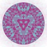 Round geometric triangle kaleidoscopic mandala design - symmetric vector art from triangles. Round abstract geometric triangle kaleidoscopic mandala design Stock Photos