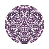 Round geometrical triangle kaleidoscopic mandala design symbol - symmetric vector pattern digital art Stock Photos