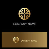 Round geometry ornament gold logo Royalty Free Stock Photography