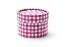 Round gift box. Chequer round gift box on white background stock images