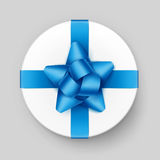 Round Gift Box with Blue Azure Bow and Ribbon Stock Photos