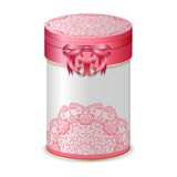 Round gift box with bow and pink lace pattern. Stock Image