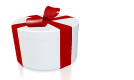 Round gift box with path. Round gift box wrapped with red ribbon on white background - 3D rendering with path Royalty Free Stock Images