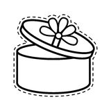 Round gift box ribbon festive open cut line. Illustration eps 10 Stock Photography