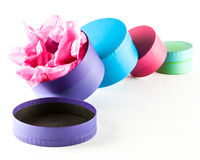 Round gift boxes Stock Images