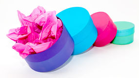 Round gift boxes Royalty Free Stock Photography