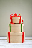 Round gift boxes Royalty Free Stock Images