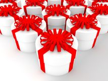 Round gift boxes in white color.3d illustration. In backgrounds Stock Image
