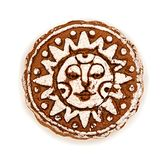 Round gingerbread with sugar glazing in sun shape isolated on white with clipping path. Single round gingerbread with sugar glazing in sun shape isolated on Stock Photos