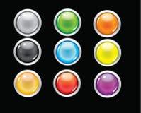 Round glass button web design  Royalty Free Stock Photos