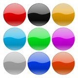 Round glass buttons. Colored set of 3d icons. Vector illustration isolated on white background Royalty Free Stock Photo