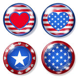 Round glass buttons with USA symbols Stock Photos