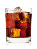 Round glass of cola with ice Stock Photography