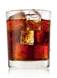 Round glass of cola with ice Stock Images