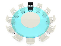 Round glass conference table with white chairs Royalty Free Stock Photography