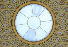 Round glass dome and ceiling painting Royalty Free Stock Photo