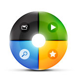 Round glass menu buttons design template Stock Image