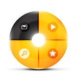 Round glass menu buttons design template Stock Photo