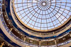 Round glass roof. Blue color. Modern architecture. Round glass roof. Blue light color. Modern beautiful architecture. Blue sky Royalty Free Stock Image