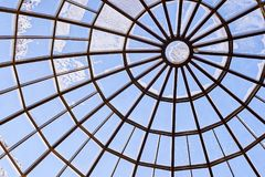 Round glass roof. Modern architecture. Blue color. Round glass hight roof. Modern beautiful architecture. Blue light color Stock Image