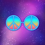 Round glasses with hippie peace sign over cosmic purple background. Woodstock style poster template. Summer and travel, bohemian. Or hippie concept. Vector vector illustration