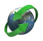 Round the Globe. High resolution render of planet earth with two green arrows circulating around. ever renewing, ever refreshing, always green Stock Photos