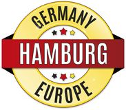 Black red yellow round glossy Hamburg Germany badge. Round glossy black red yellow badge Royalty Free Stock Image
